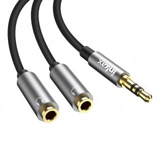 Audio-Adapter 3.5mm männlich / Doppelklinke 3.5mm weiblich 30cm, Inkax - Schwarz