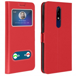 Nokia 5.1 Plus Flip Cover Doppelfenster & Standfunktion - Rot