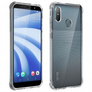 Imak Hülle HTC U12 Life Flexible Silikonhülle + Flexible Transparente Folie