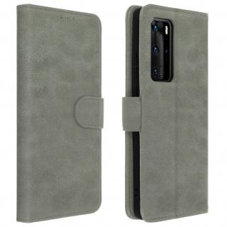 Flip Cover Geldbörse, Klappetui Kunstleder für Huawei P40 Pro ? Grau