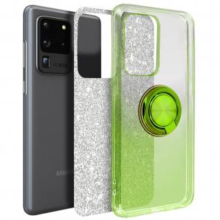Glitter Silikonhülle mit Ring Halterung für Samsung Galaxy S20 Ultra - Grün
