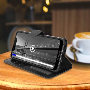 Flip Stand Cover Brieftasche & Standfunktion für Moto G7, Moto G7 Plus - Schwarz - Vorschau 4