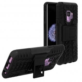Schutzhülle mit Hartschale + Standfunktion für Samsung Galaxy S9 - Schwarz