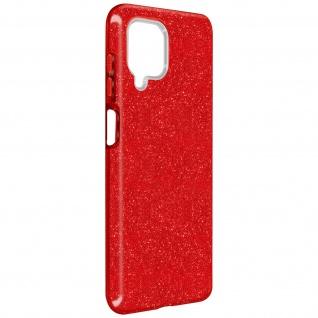 Schutzhülle, Glitter Case für Samsung Galaxy A12, shiny & girly Hülle â€? Rot
