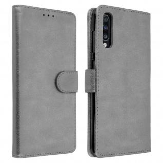 Flip Cover Geldbörse, Klappetui Kunstleder für Samsung Galaxy A70 - Grau