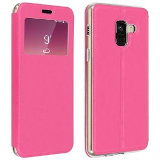 Galaxy A8 Flip Case mit Sichtfenster und Kartenfach Fuchsienrot - Standfunktion