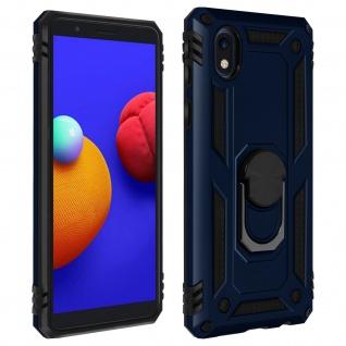 Hybrid Handyhülle mit Ring Halterung für Samsung Galaxy A01 Core ? Dunkelblau