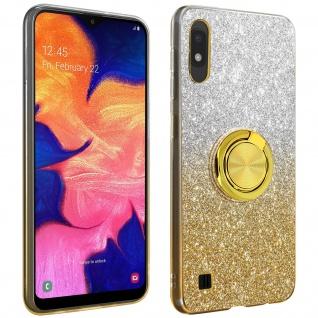 Glitter Silikonhülle mit Ring Halterung für Samsung Galaxy A10 - Gelb