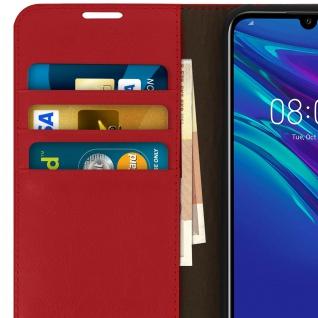 Business Leder Cover, Schutzhülle mit Geldbörse Huawei Y6 2019 - Rot - Vorschau 4