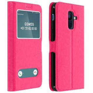 Flip Cover Doppelfenster & Standfunktion für Samsung Galaxy A6 Plus - Rosa