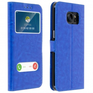 Samsung Galaxy S7 Flip Cover Doppelfenster & Standfunktion - Blau