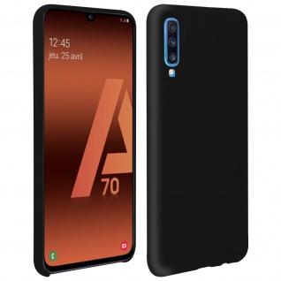 Halbsteife Silikon Handyhülle Samsung Galaxy A70, Soft Touch - Schwarz