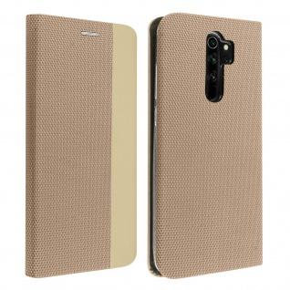 Soft Touch Stoffhülle mit Standfunktion für Xiaomi Redmi Note 8 Pro ? Gold