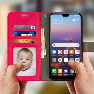 Flip Cover Stand Case Brieftasche & Standfunktion für Huawei P20 - Rosa - Vorschau 2