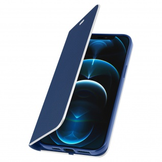 Apple iPhone 12 Pro Max Klappetui, Cover mit Carbon Design ? Dunkelblau - Vorschau 2