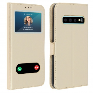 Samsung Galaxy S10 Flip Cover Doppelfenster & Standfunktion � Gold