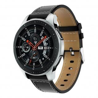 Glattleder Armband mit Ziernähten für Samsung Galaxy Watch 46 mm ? Schwarz
