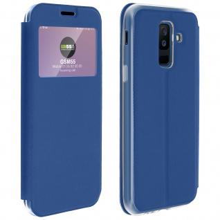 Flip Cover Sichtfenster & Kartenfach Blau für Galaxy A6 Plus - Standfunktion