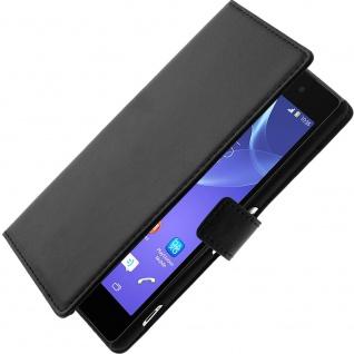 Vintage Flip-Schutzhülle mit Standfunktion für Sony Xperia Z2 - Schwarz