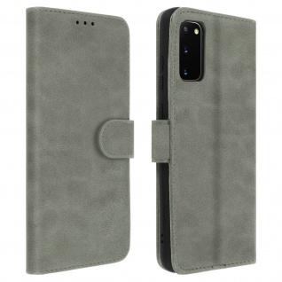 Flip Cover Geldbörse, Klappetui Kunstleder für Samsung Galaxy S20 - Grau