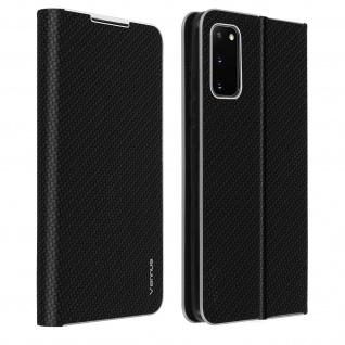 Samsung Galaxy S20 Klappetui, Cover mit Carbon Design & Ständer - Schwarz