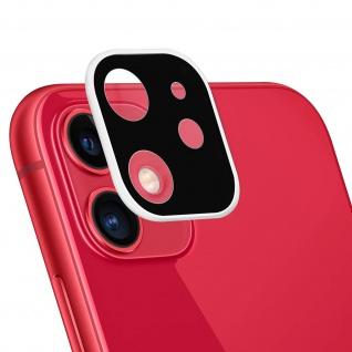 Apple iPhone 11 Rückkamera Schutzfolie aus 9H Panzerglas mit weißem Rand.
