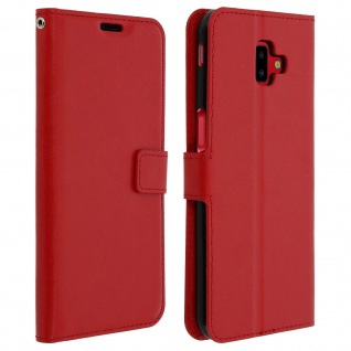 Flip Cover Stand Case Brieftasche & Standfunktion für Galaxy J6 Plus - Rot
