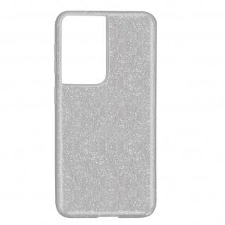 Schutzhülle, Glitter Case für Samsung Galaxy S21 Ultra, shiny Hülle â€? Silber