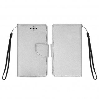 Universal Flip-Schutzhülle Fancy Style für Smartphones max. 142 x 72mm - Silber