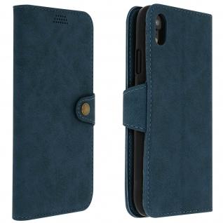 Retrohülle, Flip wallet Cover mit Standfunktion für Apple iPhone XR - Blau