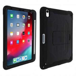 Apple iPad Pro 11 schwarze stoßfeste Hybrid-Schutzhülle mit Ständer und Gurt