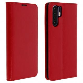 Business Leder Cover, Schutzhülle mit Geldbörse für Huawei P30 Pro - Rot