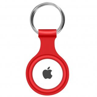 AirTag ultradünner Schlüsselanhänger aus Silikon, mit Metallring ? Rot