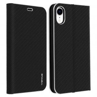 Apple iPhone XR Klappetui, Flip Cover mit Carbon Design & Ständer - Schwarz