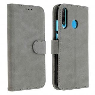 Flip Cover Geldbörse, Klappetui Kunstleder für Huawei P30 Lite - Grau
