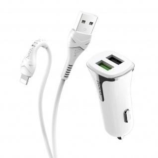 Hoco Zigarettenanzünder Autoladegerät, 2x USB-Ports + Lightning-Kabel - Weiß
