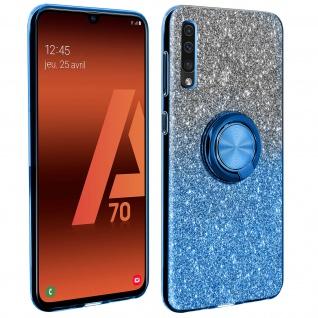 Glitter Silikonhülle mit Ring Halterung für Samsung Galaxy A70 - Blau