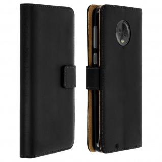 Motorola Moto G6 Cover aus Echtleder mit Standfunktion & Kartenfach - Schwarz