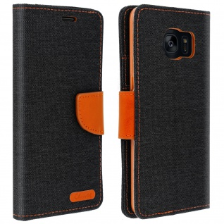 Canvas Serie Flip-Cover für Samsung Galaxy S7 Edge + Standfunktion - Schwarz