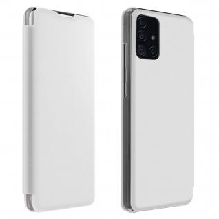 Flip Book Cover, Klappetui aus Kunstleder für Samsung Galaxy A71 - Weiß