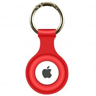AirTag Soft Touch Schlüsselanhänger aus Silikon, mit Metallring ? Rot