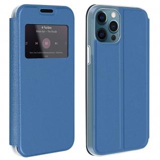 Apple iPhone 12 Pro Max Kunstlederetui mit Sichtfenster & Kartenfach ? Blau