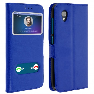 Alcatel 1 Flip Cover Doppelfenster & Standfunktion - Blau