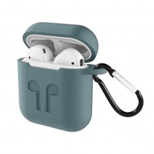 Apple AirPods (1. und 2. Gen) Silikon Schutzhülle mit Karabinerhaken - Grau