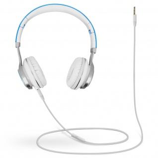 Audio Headset mit 3.5mm Klinkenstecker, EP16 Kopfhörer - Weiß / Blau