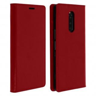 Business Leder Cover, Schutzhülle mit Geldbörse für Sony Xperia 1 - Rot
