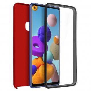 Schutzhülle für Samsung Galaxy A21s, Vorder- + Rückseite ? Rot
