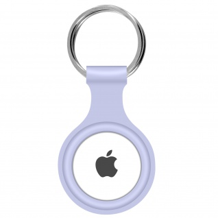 AirTag ultradünner Schlüsselanhänger aus Silikon, mit Metallring ? Lavendelblau