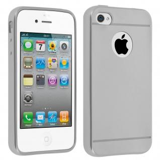 Metallic stoßfeste Silikonhülle, Schutzhülle für Apple iPhone 4 / 4S - Silber