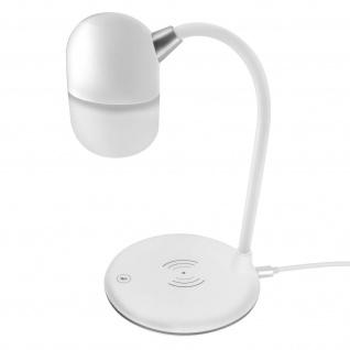 3-in-1 Schreibtischlampe, Bluetooth Lautsprecher, Induktionsladegerät - Weiß